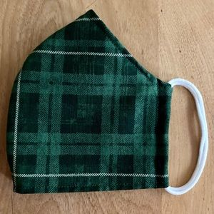 Green Plaid 100% Cotton Handmade Face Mask